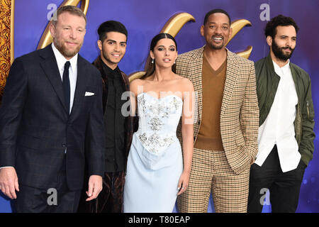 London, UK. 09th May, 2019. LONDON, UK. May 09, 2019: Guy Ritchie, Mena Massoud, Naomi Scott, Will Smith & Marwan Kenzari at the 'Aladdin' premiere at the Odeon Luxe, Leicester Square, London. Picture: Steve Vas/Featureflash Credit: Paul Smith/Alamy Live News - Stock Image