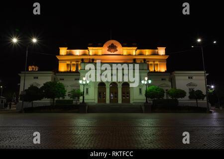 SOFIA, BULGARIA - MAY 7, 2018: National assembly, Bulgarian parliament in Sofia, Bulgaria at night. - Stock Image