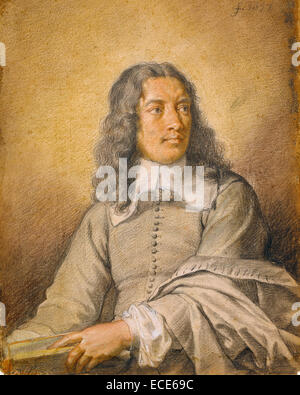 Portrait of M. Quatrehomme du Lys; Charles Le Brun, French, 1619 - 1690; 1657; Black, white, and red chalk and pastel; - Stock Image
