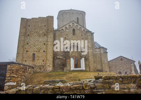 The church of St.George in the orthodox Djurdjevi Stupovi Monastery in Serbia. UNESCO World Heritage Site - Stock Image