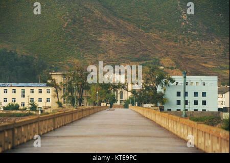 Jilin,China - Oct 4,2012:China's border with North Korea in Jilin,the bridge on Tumen river connecting the two - Stock Image