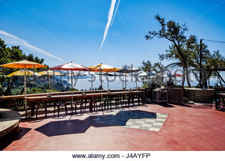 Overlooking Pacific Ocean, Los Padres National Forest and Café Kevah from verandah of Nepenthe Restaurant, - Stock Image