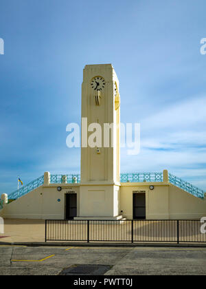 Art Deco seaside architecture Seaton Carew County Durham clock tower and public toilets - Stock Image