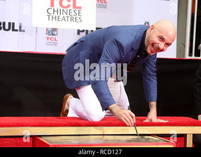 Pitbull is honoured with a hand and footprint ceremony at the TCL Chinese Theatre  Featuring: Pitbull Where: Hollywood, California, United States When: 14 Dec 2018 Credit: FayesVision/WENN.com - Stock Image