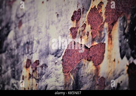 Rusted, corrosion and age coloured metal surface - Stock Image