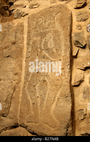 Dancers Monolithic Relief Carving, Monte Alban, Oaxaca, Mexico - Stock Image