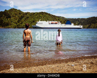 Watching the ferry arrive, Picton, Marlborough Sounds, New Zealand. Logos removed. - Stock Image