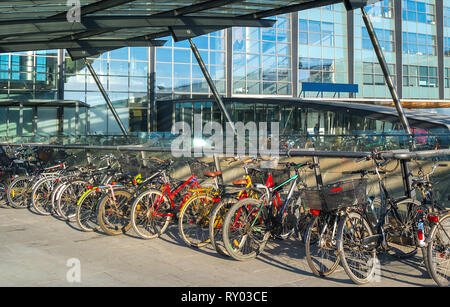 Bicycles parking by the Kastrup airport , Copenhagen, Denmark - Stock Image