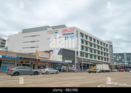 'Dee Why Grand' building with 30 specialty shops. Pittwater Road Dee Why, Sydney. - Stock Image