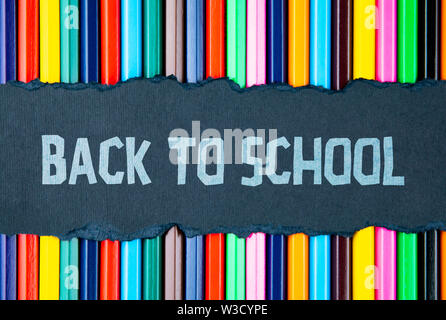 Back to school concept. Pencils backgroud, frame - Stock Image