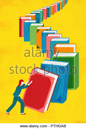Woman pushing over row of books in domino effect - Stock Image