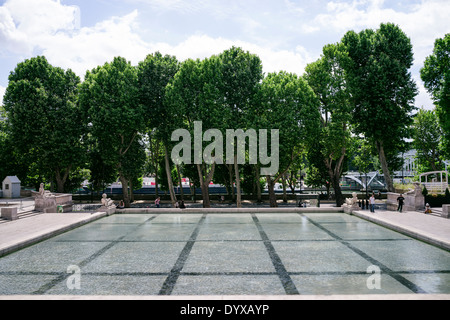 View of a row of trees as seen from the Palais de Tokyom, which hosues the Museum of Modern Art, in Paris, France. - Stock Image
