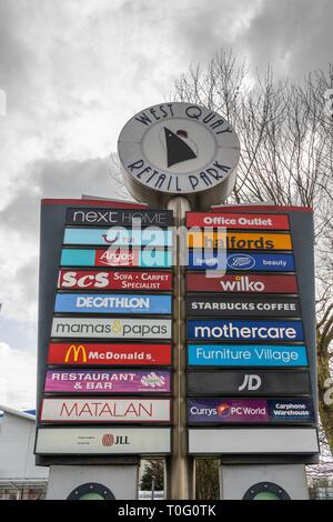Westquay retail park sign, Southampton UK - Stock Image