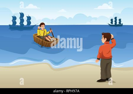 A vector illustration of Two Friends Saying Goodbye - Stock Image