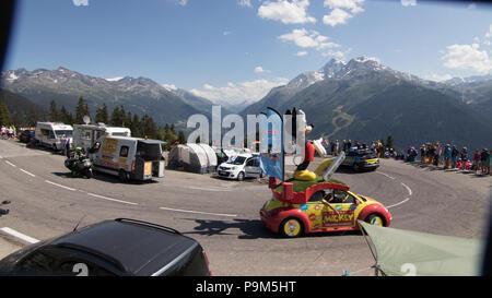La Caravane du Tour de France. 18th July, 2018. Tour de France 2018 cycling stage 11 La Rosiere Rhone Alpes Savoie France Credit: Fabrizio Malisan/Alamy Live News - Stock Image