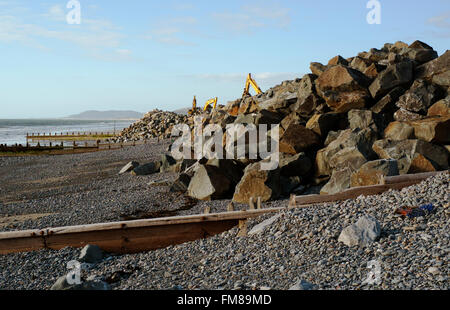 flood defenses in Borth, Aberystwyth, Wales - Stock Image