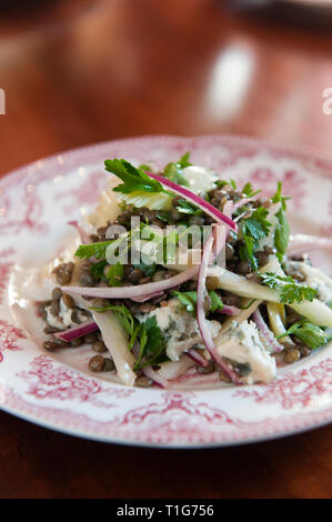 'Lentil salad in cocktail lounge of The Zetter Townhouse in London, England' - Stock Image