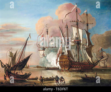An Honourable East India Company flagship returning to home waters in triumph by Johann Baptiste Bouttats, 1726 - Stock Image