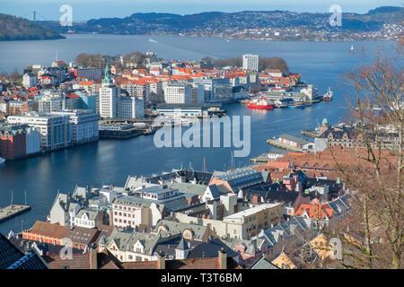 City view from Skansen Mount Fløyen Bergen Norway - Stock Image