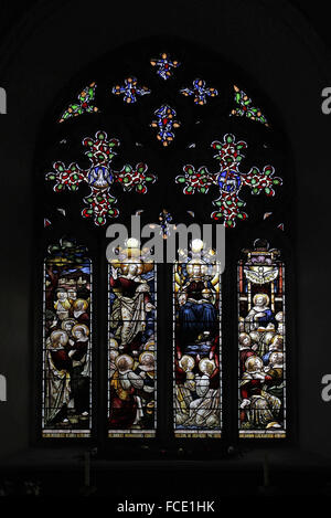 Stained glass window depicting Acts of the Apostles, The Ascension, Christ in Majesty and Pentacost, All Saints - Stock Image