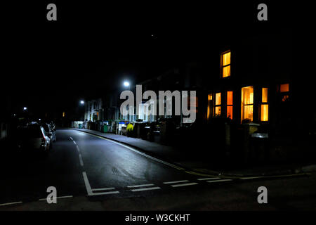 English,street,terraced, houses,at,night,Cowes,Isle of Wight,England,UK, - Stock Image