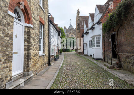 St. Mary's Church from West St in Rye, East Sussex, England, UK - Stock Image