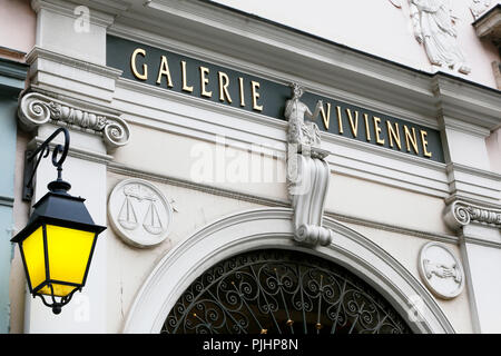 Paris. 2nd district. Entry of the Vivienne Gallery. - Stock Image