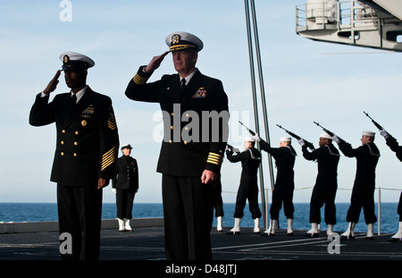 USS Carl Vinson conducts a burial at sea. - Stock Image