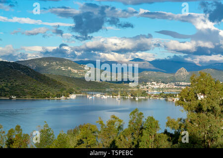 Landscape with small greek islands bays and villages on Peloponnese, Greece near Nafplio town, summer vacation destination - Stock Image