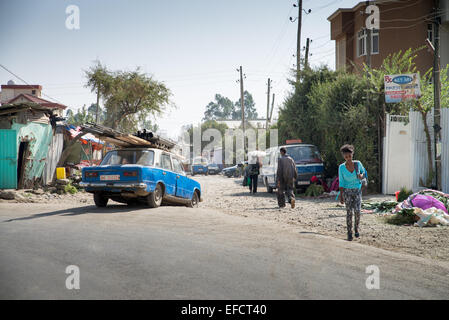 Car in the street of Addis Ababa, Ethiopia, Africa. - Stock Image