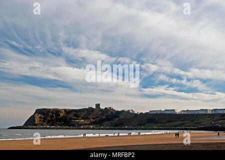 Scarborough's castle, headland and North Bay beach under an impressive sky. - Stock Image