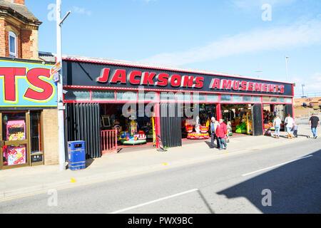 Mablethorpe, Lincolnshire, UK, Amusement arcade Mablethorpe UK, Mablethorpe Amusement arcade, Mablethorpe amusements, Mablethorpe arcade, town, towns, - Stock Image