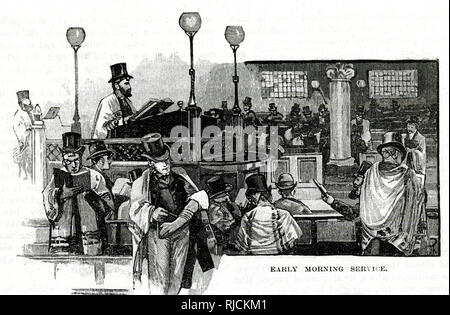 This depicts an early morning Jewish service in London. Shacharit is the morning Tefillah (prayer) of Judaism. It is one of  three daily prayers. - Stock Image