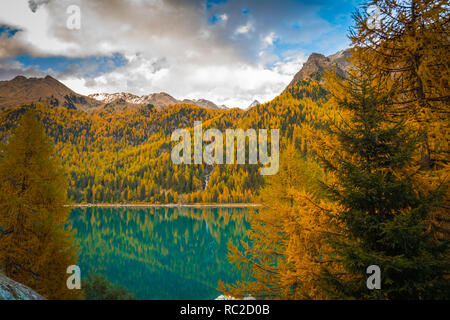 Lago di Gioveretto (Zufrittsee) during autumn, Martello Valley, Venosta Valley, province of Bolzano, South Tyrol, northern Italy, Europe.Beauty of nat - Stock Image