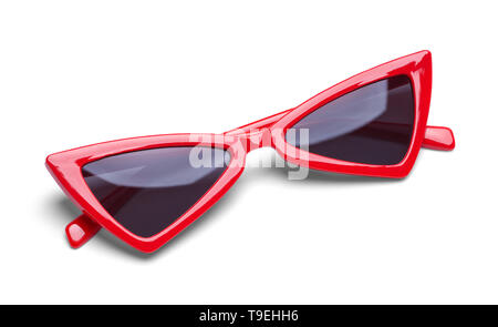 Pointed Red Sunglasses Folded on White Background. - Stock Image