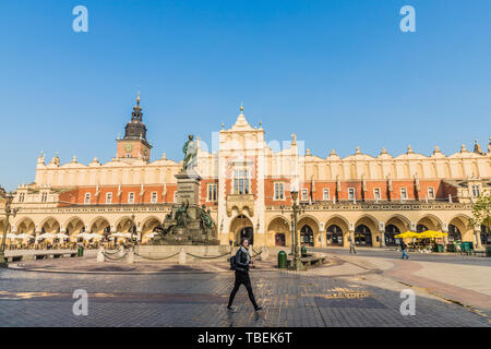 The medieval old town square in Krakow - Stock Image