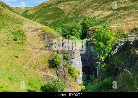 The gorge in Alva Glen in the Ochil Hills, Clackmannanshire, Scotland, UK - Stock Image