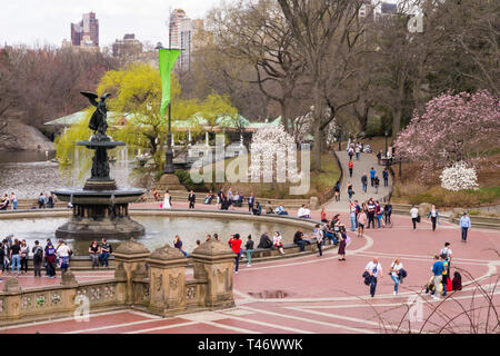 Bethesda Plaza,  Angel of the Waters Fountain in Springtine, NYC - Stock Image