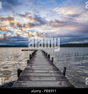 Jetty at Lake Mapourika, on the West Coast of New Zealand's South Island. - Stock Image