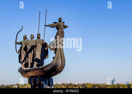 monument to the founders of Kiev Cue Cheek Horev and Lybed Kiev, Ukraine 06.11.2018 - Stock Image