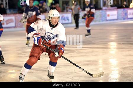 Moscow, Russia. 29th December 2018. Russian President Vladimir Putin #11, during ice hockey action at the Night Hockey League match in the rink at the GUM Department store in Red Square December 29, 2018 in Moscow, Russia. Credit: Planetpix/Alamy Live News - Stock Image