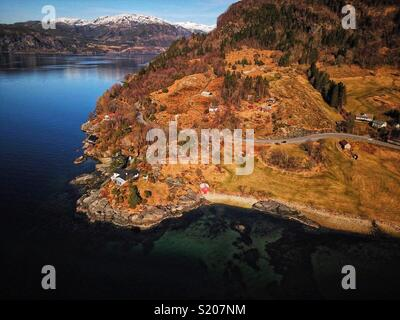 Aerial of a Norwegian fjord - Stock Image