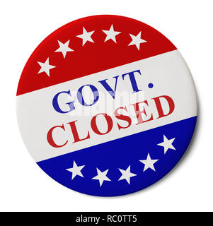 Round Pin Button IWith Govt. Closed on it Isolated on White Background. - Stock Image