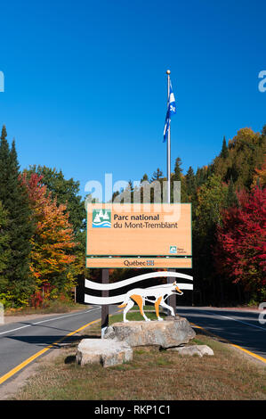 Sign at the entrance of Mont Tremblant National Park, Province of Quebec, Canada. - Stock Image