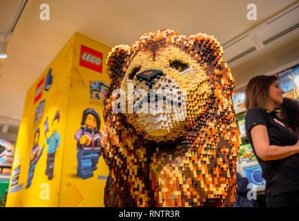 Lion lego bricks lego store of Bologna  - Stock Image
