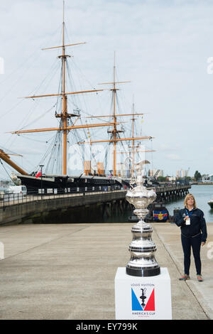 Portsmouth, UK. 23rd July 2015. The America's Cup on display in-front of HMS Warrior at the Portsmouth Historic - Stock Image