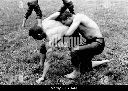 May 12, 1970; Zurich, Switzerland; Men wrestling in Switzerland. - Stock Image