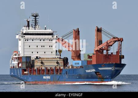 General cargo Ship Pangani inbound Kiel Fjord - Stock Image