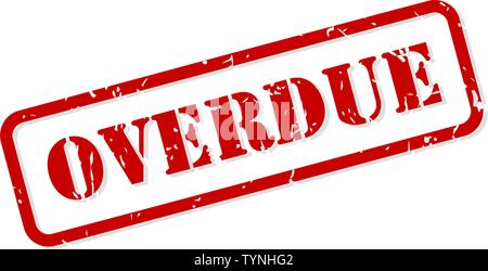 Overdue red rubber stamp vector isolated - Stock Image