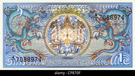 Banknote aus Bhutan, 1 Ngultrum , das königliche Zeichen, 1981, Banknote from Bhutan, 1 Ngultrum, with a royal - Stock Image
